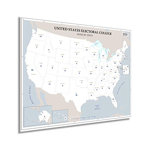 HISTORIX 2020 Updated United States Electoral College Votes by State Map Poster - 24x30 Inch Presidential Election Electoral College Poster - US President Electoral Map Poster (2 sizes)
