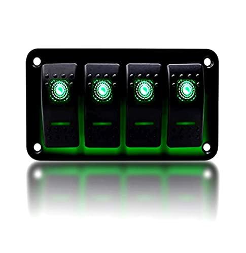 KAOLALI Interruptor de palanca de 4/6 pandillas de encendido y apagado IP65 impermeable 12 V 24 V LED panel de interruptor basculante para barco, RV, coche, camión, remolque, yate (verde)