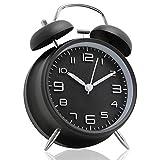 目覚まし時計 大音量 ベル 夜光 おしゃれ 電池式 置き時計 卓上時計 バックライト 静か アナログ連続秒針 ナイトライト付 操作簡単 3D置き時計 入園・入学祝い (ブラック)