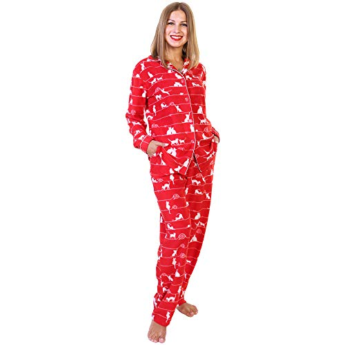 Angelina Women's Cozy Fleece | Kitty Cats Pajamas For Women | Animals | Pajama Set with Pockets PJ56_L