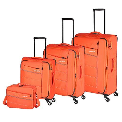 """Travelite Extrem leicht: """"KITE"""" – sportlich-klassische Trolleys, Trolley-Reisetaschen und Bordtaschen Koffer-Set, 75 cm, 198L, Orange"""