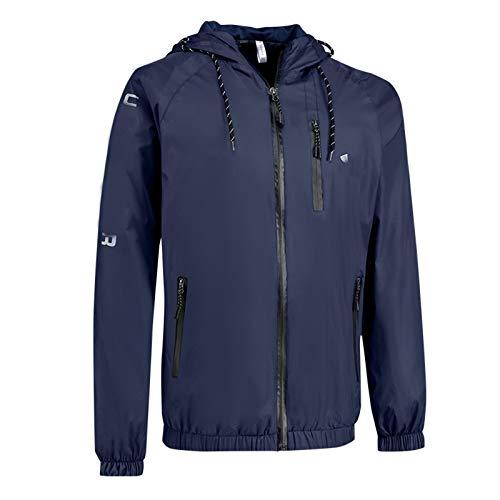 WLZQ Autumn and Winter Mens Jacket Mens Hooded Jacket Thin Hooded Jacket Windproof Windbreaker Youth Hooded Jacket Sports Jacket Navy Blue
