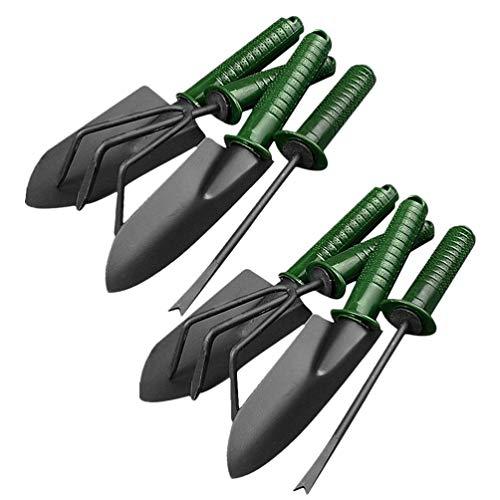 TOYANDONA 8 Stks Rvs Zware Tuingereedschap Set Outdoor Hand Hark Schop Vork Voor Bonsai Planten Succulent Tuinieren (Groen + Zwart)