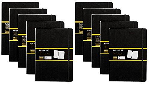 10er Maxi Sparpack Idena 209284 - Notizbuch, 192 Seiten, 80 g/m², schwarz (DIN A5 | 10 Stück, liniert)