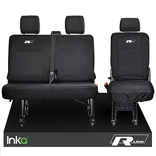 Inka - Fundas de asiento traseras impermeables para VW TRANSPORTER T6.1, T6, T5.1 Kombi Van MY 2010-2020 (7 colores bordados), color blanco
