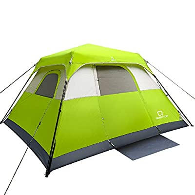 QOMOTOP Camping Tent, 8 Person Instant Set Up Within 1 Minute Tent Equipped with Rain-Fly and Carry Bag, Cabin Style Tent, Green