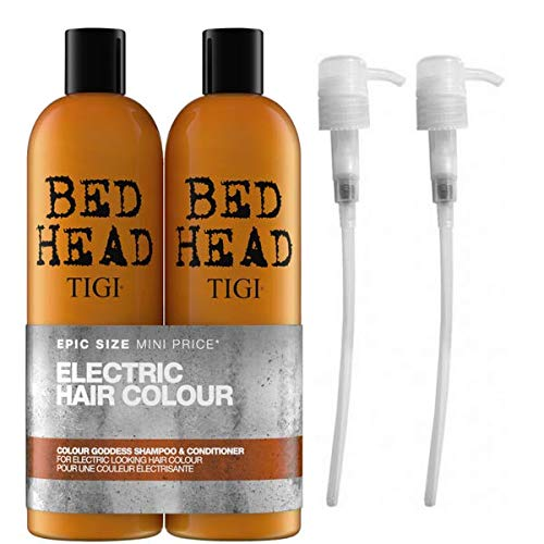 Tigi - By Bed - Champú y acondicionador Goddess para color (2 x 750 ml) con dispensadores Tigi