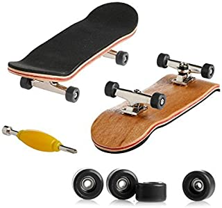 Delight eShop 1pcs Maple Complete Wooden Fingerboard Skateboard Metal Nuts Trucks - Black Basic Bearing Wheel