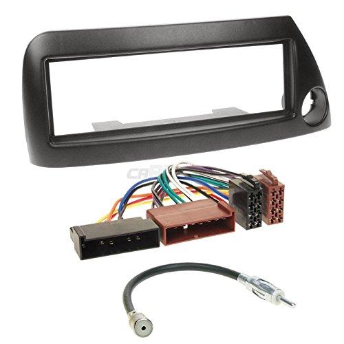 Carmedio Ford Ka 96-08 1-DIN Autoradio Einbauset in original Plug&Play Qualität mit Antennenadapter Radioanschlusskabel Zubehör und Radioblende Einbaurahmen schwarz