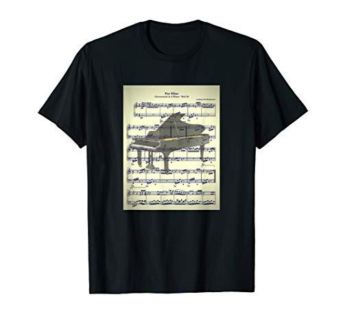 Fur Elise Beethoven Klavier Noten Musiker Geschenk Grafik T-Shirt