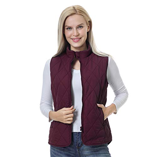 Women's Padded Vest Zip Up Quilted Vest Jacket Zipper Pockets Sports Puffer Vest Gilet(Red,L)
