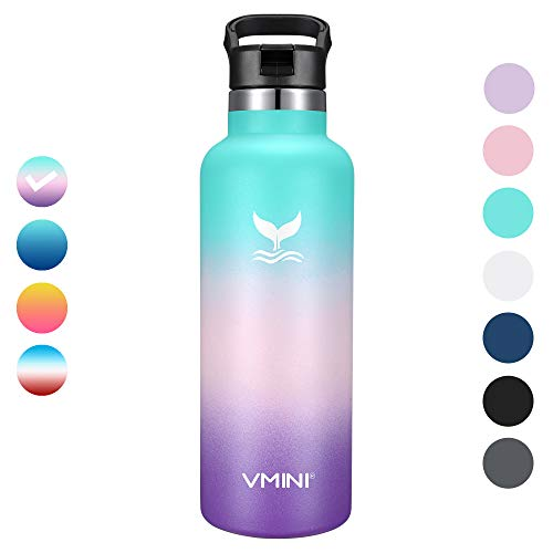 Vmini Water Bottle with New Wide Handle Straw Lid, Standrad Mouth Vacuum Insulated 18/8 Stainless Steel, 22 oz, Gradient Mint + Pink + Purple