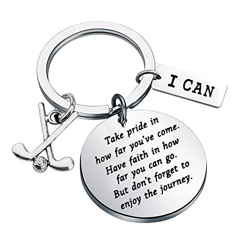Golf Keychain Golf Inspiration Gifts Golf Team Gifts Golf Clubs Gift for Golfer Jewelry Golf Lover Inspiration Gifts Take Pride in How Far You Have Come (Silver)