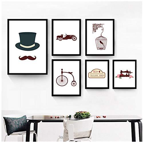 ASFDF Lienzo Decorativo, Cuadros de Pintura, Sombrero, Bigote, sastrería, máquina de Coser, Loro en una Jaula, Coche Antiguo, 40x60 cm, impresión sin Marco