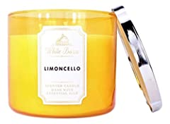 """White Barn Bath and Body Works Limoncello 3 Wick Candle 14.5 Ounce Sorrento Lemons, Cane Sugar, Lemon Zest with Essential Oils Topped with a decorative lid Measures 4"""" wide x 3 1/2"""" tall 14.5 Ounce Burns approximately 25 - 45 hours"""