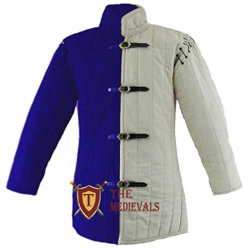 The Medieval Shop Thick Padded Gambeson Coat Aketon Jacket Armor, Blue & White - Large