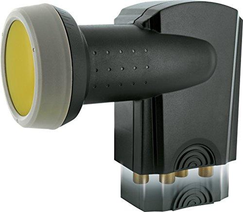 SCHWAIGER -371- Quad LNB mit Sun Protect, 4-Fach, digital (4 Teilnehmer), extrem hitzebeständige LNB Kappe, Einsatz mit Satellitenschüssel, multifeed-tauglich mit Wetterschutz, vergoldete Kontake
