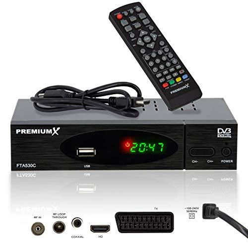 PremiumX FTA 530C FullHD Digitaler DVB-C / C2 TV Kabel Receiver | Auto Installation USB Mediaplayer SCART HDMI WLAN optional | Kabelfernsehen für jeden Kabel-Anbieter geeignet