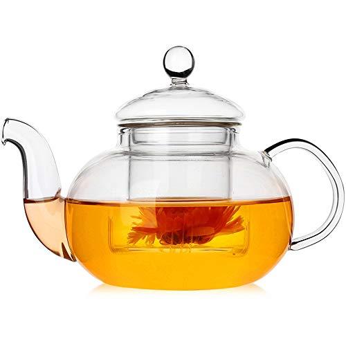 ZHHAOXINPA Tetera de Vidrio con infusor, Tetera con colador para té Suelto, Tetera Segura en la Estufa, Tetera de Vidrio de borosilicato Resistente al Calor con infusor extraíble, 1200ml
