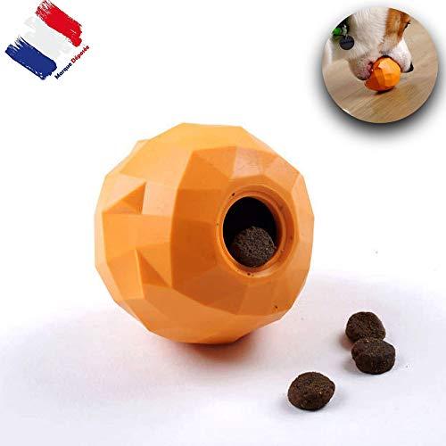 Giocattolo da masticare interattivo per cani, motivo: Orange di stile è un distributore originale di snack e crocchette | lavabile in lavastoviglie | accessorio interattivo emolliente