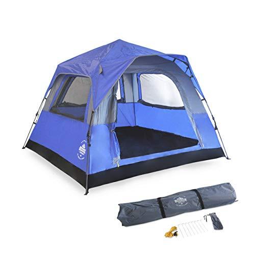 Lumaland Leichtes Outdoor Pop Up Comfort Zelt Wurfzelt für 3 PersonenZelt Camping Festival Sekundenzelt 210 x 210 x 140 cm Tragetasche Blau
