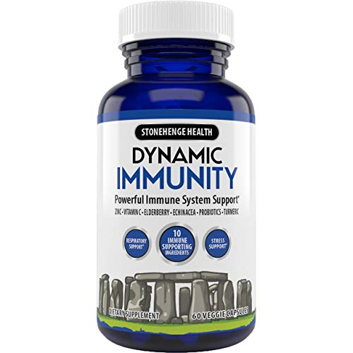Stonehenge Health Dynamic Immunity Daily Supplement 10-in-1 Immune Boosters Zinc, Elderberry, Echinacea, Vitamin C & Probiotic L. Acidophilus – Supports Immune System & Respiratory Health, 60 Capsules