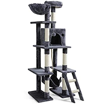 rabbitgoo Cat Tree Cat Tower 61  for Indoor Cats Multi-Level Cat Condo with Hammock & Scratching Posts for Large Cats Kittens Tall Cat Climbing Stand with Plush Perch & Toys for Play Rest Dark Grey