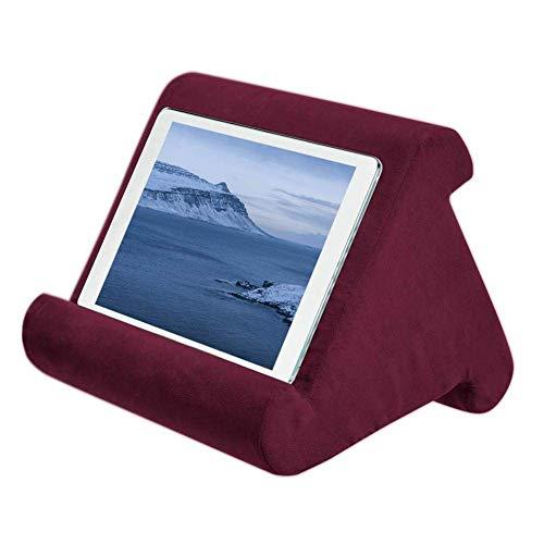 Riou Tablet Ständer Kissen, Multi-Angle Soft Basic Handy Halter Tablet Halterung für Max 10 Zoll Ipad, Tablets, Phablets, E-Reader (Weinrot)