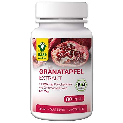 Raab Vitalfood Bio Granatapfel Extrakt Kapseln mit Polyphenolen, 80 Stück