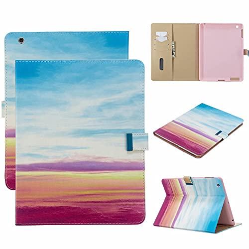 TTNAO Custodia per iPad 2 3 4 (Old Model) Premium Cover Auto Wake Sleep Cover Pelle PU Protettiva Caso Slot Carte Stand Supporto Case,Arcobaleno