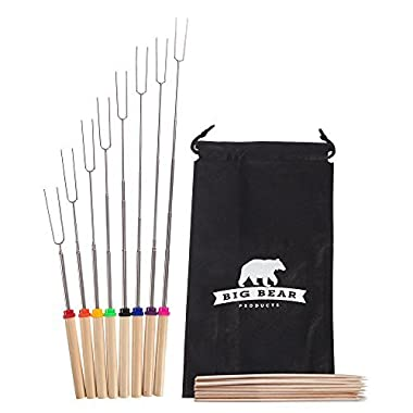 Extendable to 32  Marshmallow Roasting Forks, Premium Smores & Campfire Skewers,8 Forks & 8 Bamboo Sticks With Bag, No1 Set For Campfires,BBQ,Bonfires, Approved For Kids Safety