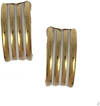 Lines Gold tone Cream Clip On Earrings