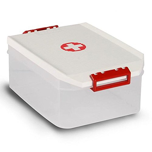 Sanixa TA1150209 Medizinbox Klickverschluss transparent Erste Hilfe Box Aufbewarhungskiste Medikamente Arzneimittelbox Aufbewahrungsbox Hausapotheke