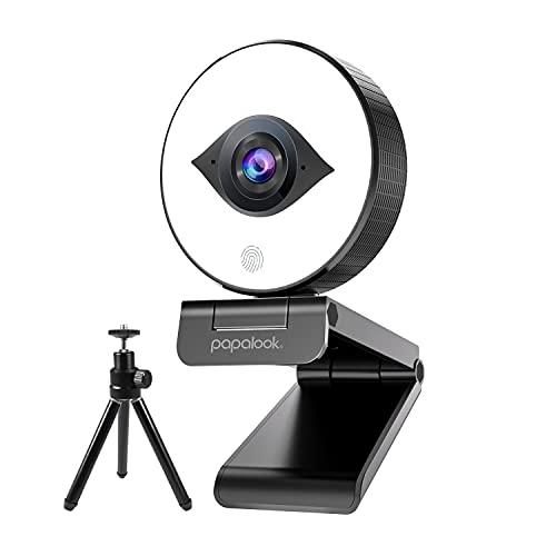 papalook PA552 Pro Full HD 1080P/60FPS Webcam Live Streaming con treppiede e anello luce, autofocus StreamCam con doppio microfono, Plug and Play per apprendimento online, Zoom Meeting Skype Teams