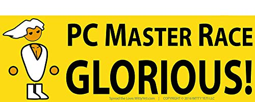 Glorious PC Master Race Bumper Sticker 5 Pack for Your Battlestation, Laptop, Computer Case, Wall & Window. Supports Childs Play Video Gaming Charity. Great Gift for a Proud Gamer, Geek or Nerd.