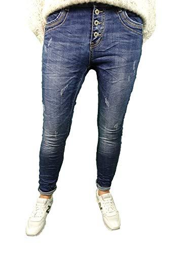 Jewelly Damen Stretch Jeans Boyfriend Cut mit offener Knopfleiste S Used