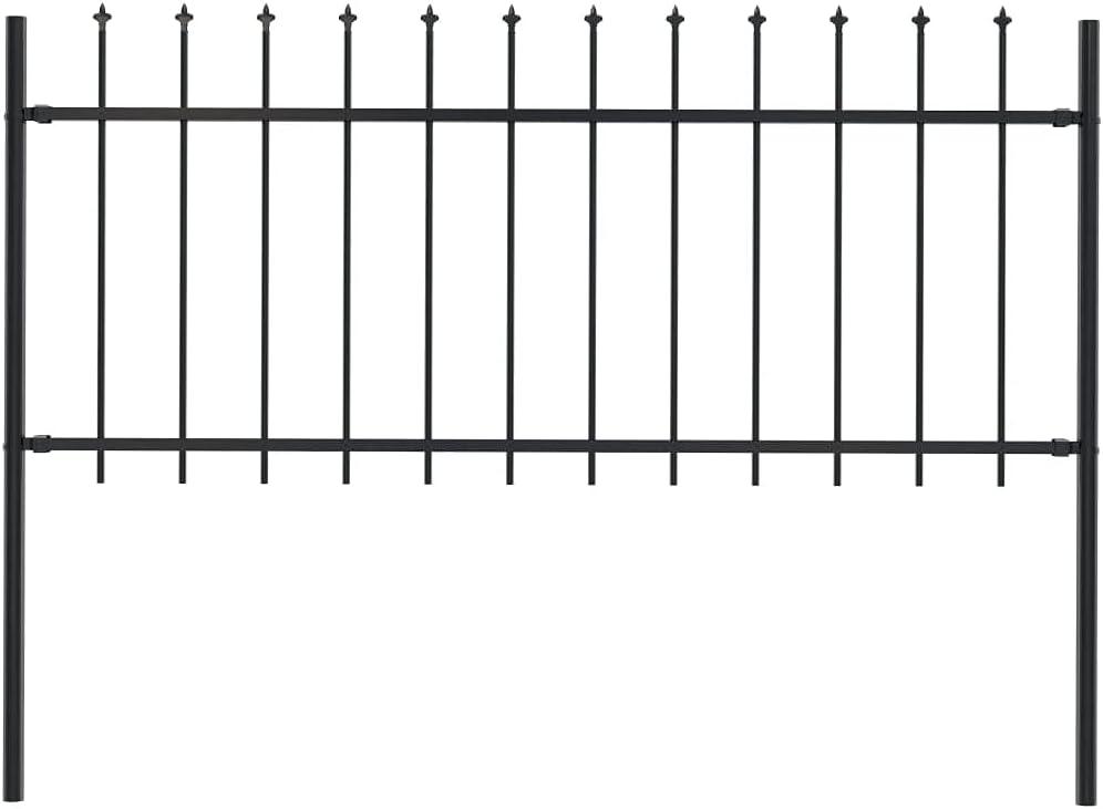 vidaXL Garden Fence with Popular overseas Spear Border Mament Landscape Top Max 81% OFF