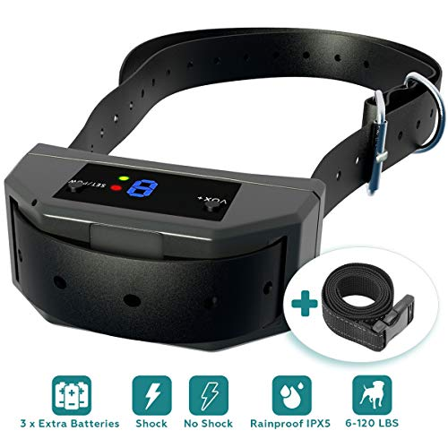 [NEW 2019] Bark Collar with Upgraded Microprocessor Barking Detection - Best No Bark Device w/ 3 Extra Batteries - Beep, Vibration, Shock for Small, Medium, Large Dogs All Breeds Up to 120 LBS.