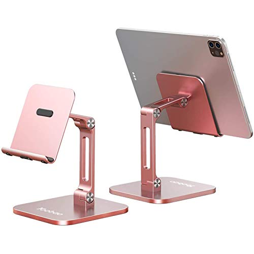 Yoobao Tablet Stand Multi-Angle Tablet Holder Desktop iPad Stand Adjustable & Foldable Aluminum iPad Holder for 4-13'' iPad Pro Air Mini Kindle iPhone 12 Pro 11 XR Xs Max & More-RG- 1 Pack