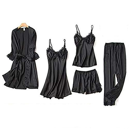 AFUPO 5PCS Conjunto de Pijama Camisón Ropa para el hogar Túnica Mujeres Sexy Ropa de Dormir con Manga de Encaje, Negro, M 🔥