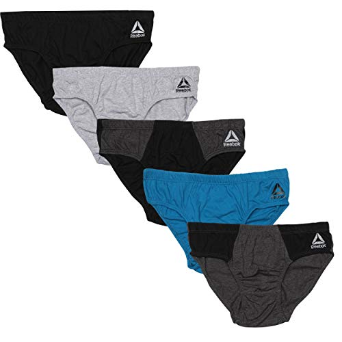 Reebok Men's Low Rise Underwear Briefs (5 Pack) (Heather Grey/Black/Blue/Charcoal, Medium)'