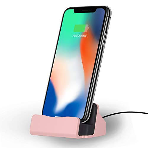 NessKa® Dockingstation [ inkl. 2 Meter USB Kabel ] Desktop Tisch Ladestation Ladegerät Dock Ständer für Apple iPhone X XR XS Max Pro 11 10 8 7 6s 6 Plus 5s 5 SE iPod Touch | Pink