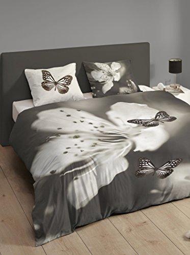 Descanso bettwäsche mit großen Blume und Schmetterlinge, 100% Baumwolle/Satin, 155x220 cm, grau, 200 x 155 x 0,5 cm