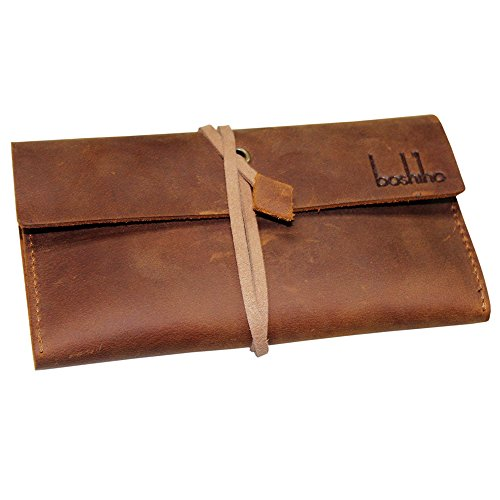 Boshiho Genuine Leather Roll Up Tobacco Pouch with Rolling Tip Paper Holder Slot (Brown (S))