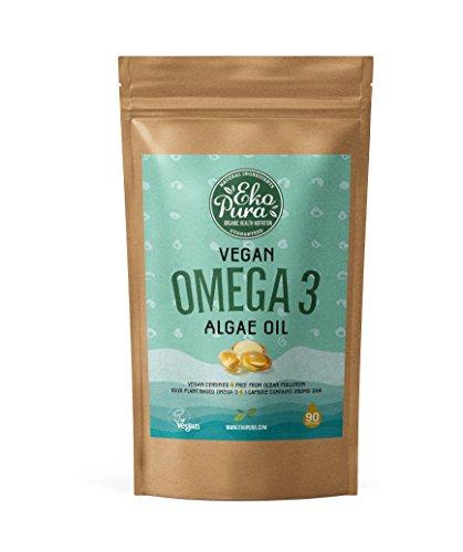 Veganes Omega 3 - Algenöl - 250mg DHA/Kapsel - 90 Kapseln (3-Monatsvorrat) - Pflanzlich, nachhaltig, besser als Fischöl