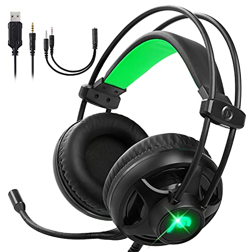 Fosmon Gaming Headset with Microphone & Volume Control, 3D Surround Strong Bass Over Ear Headphone with Ergonomic Headband Compatible with Xbox PS4 PS5 Nintendo Switch PC Laptop Desktop Mac
