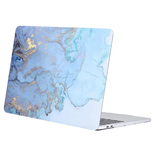 MOSISO MacBook Pro 15 Case 2019 2018 2017 2016 Release A1990 A1707, Plastic Hard Case Shell Cover Compatible with Macbook Pro 15 Inch with Touch Bar and Touch ID, Water Blue Marble