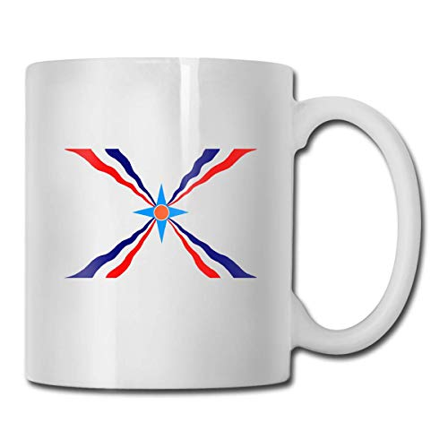 Not Applicable Assyrische Flagge tragbare Klassische keramikbecher kaffeetasse reisetasse 11 Unze