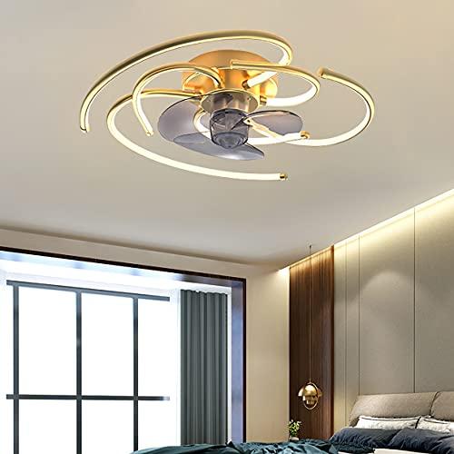 Camera Ventilatore Da Soffitto Con Luce E Telecomando 3 Velocita Bambini LED Dimmerabile Lampada Ventilatore Soffitto Silenzioso Ventilatore Da Soffitto Con Luce E Timer,D'oro