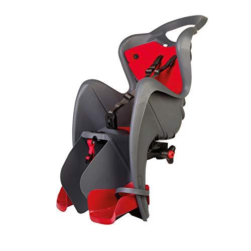Mr. Fox - Asiento Posterior de Bicicleta - para niños de hasta 22 kg, de 3 a 8 años - Se Fija al Cuadro, Reclinable- Gris Oscuro